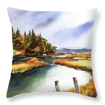 Throw Pillow featuring the painting Heyer Pt   Vashon Wa by Marti Green