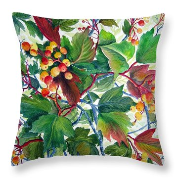 Hi-bush Cranberries Throw Pillow by Joanne Smoley