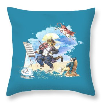 Hi Diddle Diddle T-shirt Throw Pillow by Herb Strobino