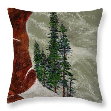 Hi Mountain Pine Trees Throw Pillow