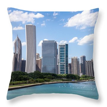 Hi-res Picture Of Chicago Skyline And Lake Michigan Throw Pillow by Paul Velgos