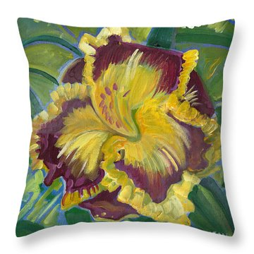 Throw Pillow featuring the painting Hibiscus 2 by John Keaton