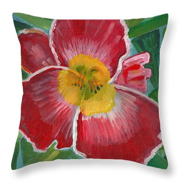 Throw Pillow featuring the painting Hibiscus 3 by John Keaton