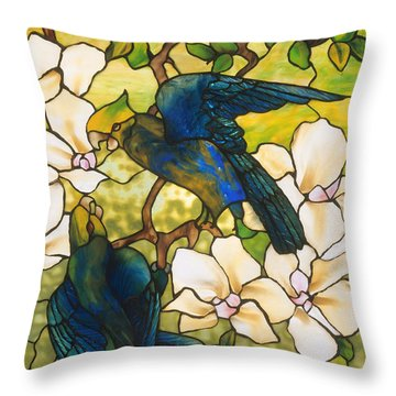 Hibiscus And Parrots Throw Pillow