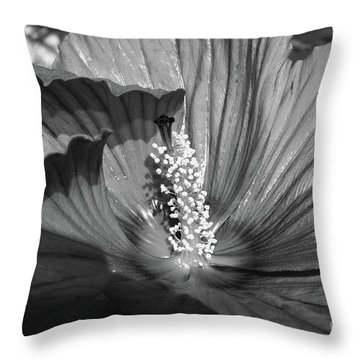 Hibiscus Black And White Throw Pillow