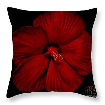 Hibiscus By Moonlight Throw Pillow by Marsha Heiken