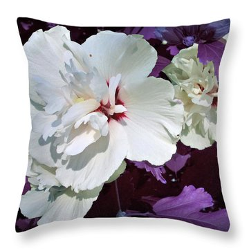 Throw Pillow featuring the photograph Hibiscus - Circa 2006 Saratoga, Ny by Iowan Stone-Flowers
