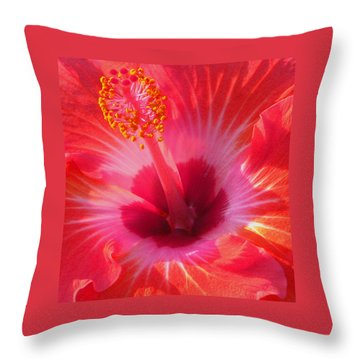 Hibiscus - Coral And Pink Square Throw Pillow by Kerri Ligatich