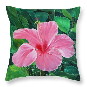 Throw Pillow featuring the painting Hibiscus by Elizabeth Lock