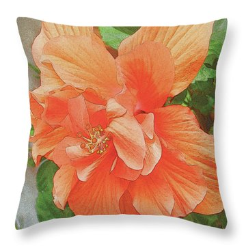 Throw Pillow featuring the painting Hibiscus Flower by John Dyess