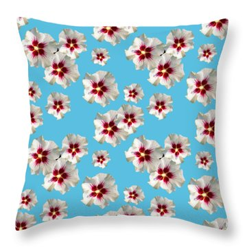 Throw Pillow featuring the mixed media Hibiscus Flower Pattern by Christina Rollo