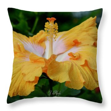 Hibiscus Golden Mist Throw Pillow