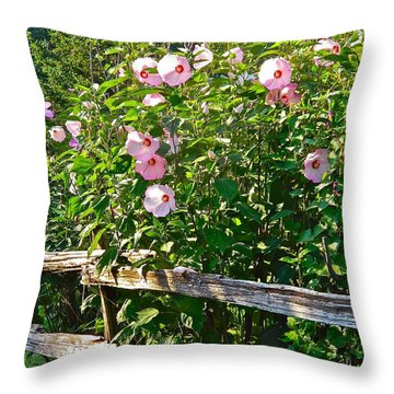 Hibiscus Hedge Throw Pillow