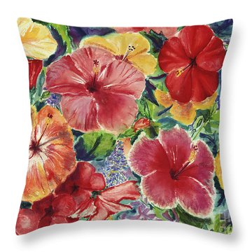 Hibiscus Impressions Throw Pillow by Patti Bruce - Printscapes