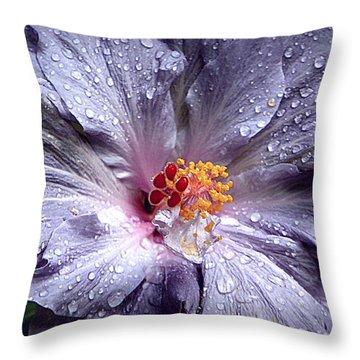 Hibiscus In The Rain Throw Pillow by Lori Seaman