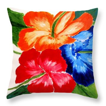 Throw Pillow featuring the painting Hibiscus by Jamie Frier