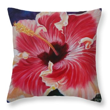 Throw Pillow featuring the painting Hibiscus by Jenny Lee