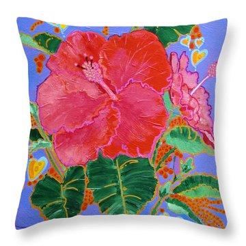 Hibiscus Motif Throw Pillow