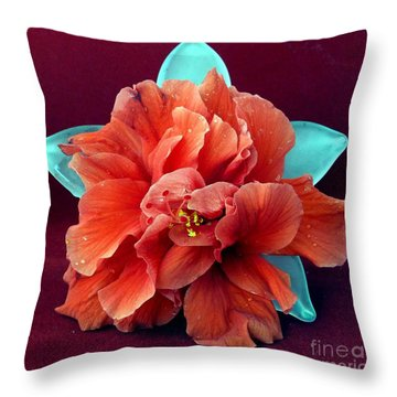 Hibiscus On Glass Throw Pillow by Barbie Corbett-Newmin