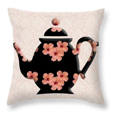 Hibiscus Pattern Teapot Throw Pillow