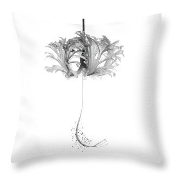 Hibiscus Schizopetalus Against A White Background In Black And White Throw Pillow