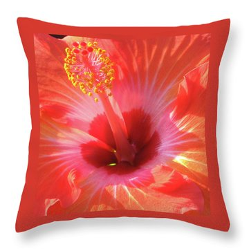 Hibiscus - Shades Of Coral Throw Pillow by Kerri Ligatich