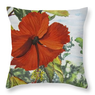 Hibiscus St Thomas Throw Pillow by Carol Flagg