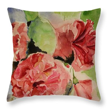 Hibiscus Stilllife In Impressionism Style Throw Pillow by Geeta Biswas