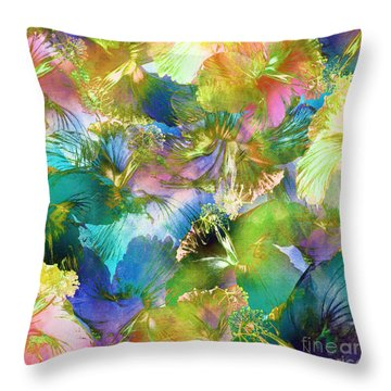 Throw Pillow featuring the digital art Hibiscus Trumpets by Klara Acel