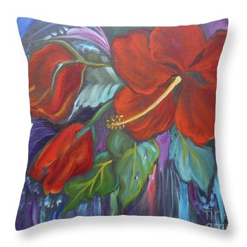 Hibiscus Whimsy Throw Pillow