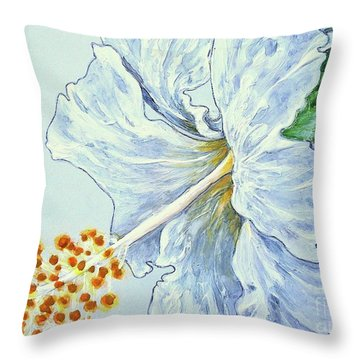 Hibiscus White And Yellow Throw Pillow by Sheron Petrie