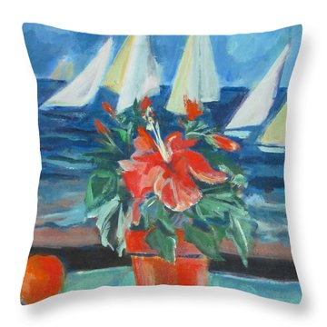 Hibiscus With An Orange And Sails For Breakfast Throw Pillow
