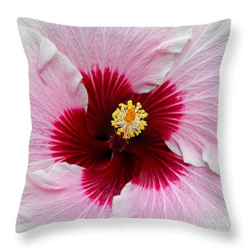 Hibiscus With Cherry-red Center Throw Pillow by Susan Wiedmann