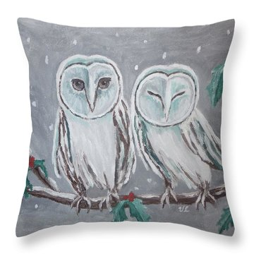 Throw Pillow featuring the painting Hiboux En Hiver by Victoria Lakes