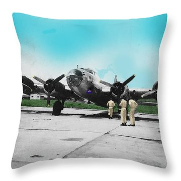 Hickam Fort Throw Pillow by Walter Chamberlain