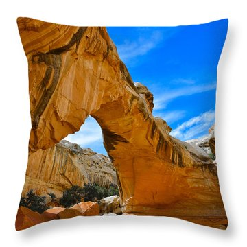 Throw Pillow featuring the photograph Hickman Bridge Natural Arch - Capitol Reef National Park by Dany Lison