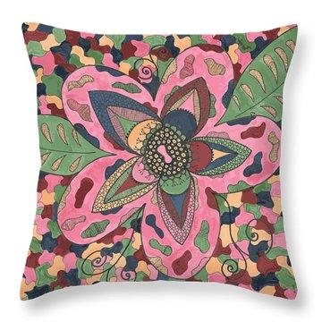 Throw Pillow featuring the drawing Hidden Beauty by Jill Lenzmeier