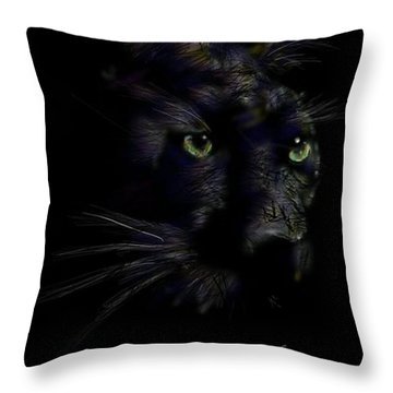 Throw Pillow featuring the digital art Hidden Cat by Darren Cannell