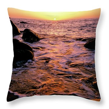 Hidden Cove Sunset Redwood National Park Throw Pillow
