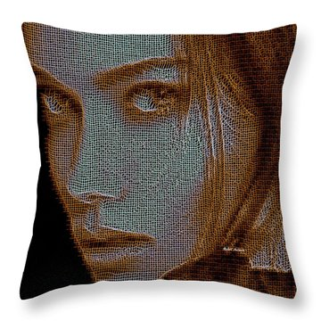 Throw Pillow featuring the digital art Hidden Face In Sepia by Rafael Salazar