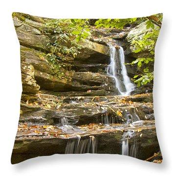 Hidden Falls-hanging Rock State Park Throw Pillow by Bob Decker