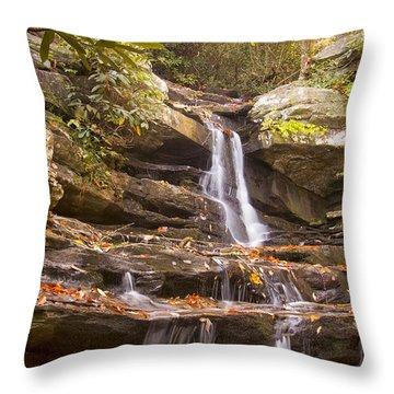 Hidden Falls Of Danbury, Nc Throw Pillow by Bob Decker