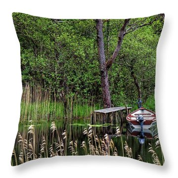 Hidden Fishing Pond Throw Pillow