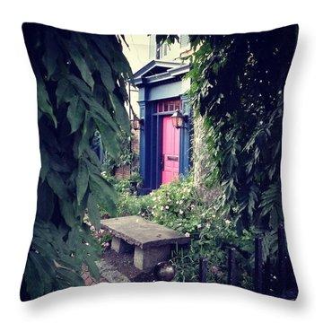 Hidden Garden Door Throw Pillow