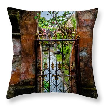 Bali Gate Throw Pillow