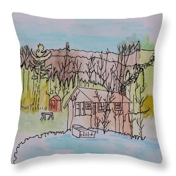 Throw Pillow featuring the painting Hidden Lake                      by Connie Valasco