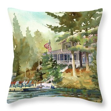 Throw Pillow featuring the painting Hidden Lake by Kris Parins