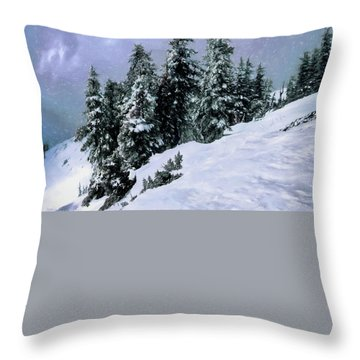 Hidden Peak Throw Pillow by Jim Hill
