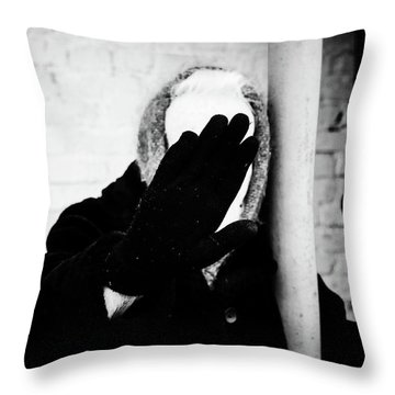 Throw Pillow featuring the photograph Hidden Woman In Black Fur by John Williams