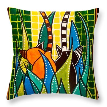 Hide And Seek - Cat Art By Dora Hathazi Mendes Throw Pillow